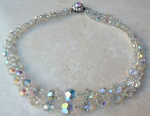 Vintage aurora borealis faceted crystal, double stranded necklace by vintage designer Exquisite.