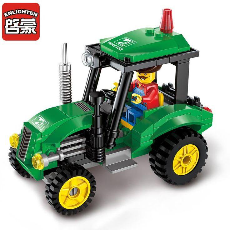 Enlighten Building Blocks City Series Farm Tractor Slusher Building Blocks Toys For Children Compatible With legoelieds Lepin