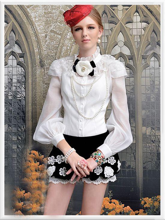 Morpheus Boutique  - White Chiffon Lace Shoulder Princess Long Sleeve Ruffle Shirt