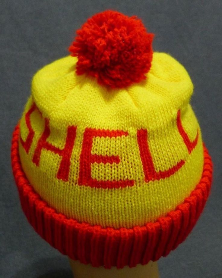 Shell Gas Station Toque Winter Hat Red Yellow Acrylic Canada Pom Pom Vintage | eBay