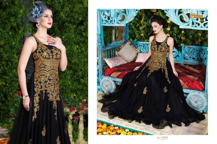 Black Gown Wedding Party Indian Bollywood Designer Ethnic  Salwar Kameez 1785…