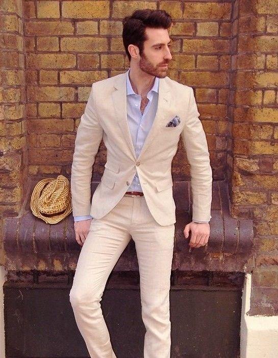 Latest Coat Pant Designs Beige Casual Wedding Suits For Men Custom Groom Beach Summer Skinny 2 Pieces Tuxedo Jacket Pants 186