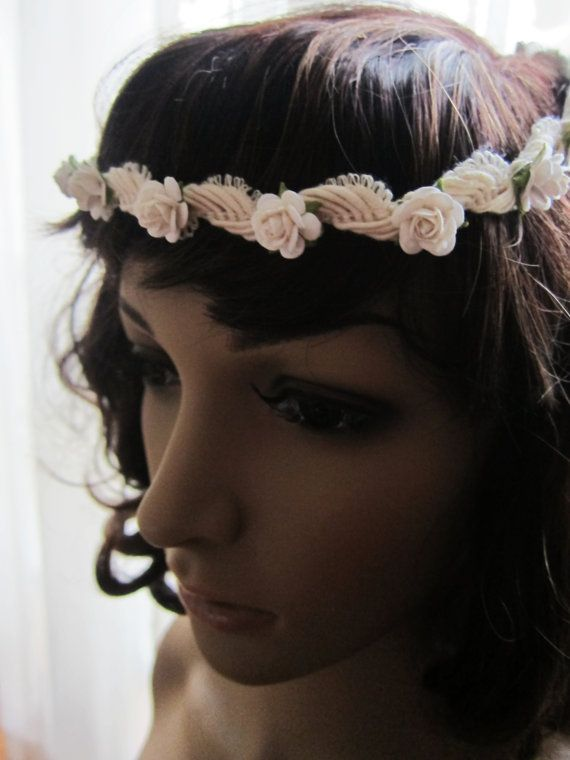 Crochet Hair Garland : ... Floral Crown Rose Hairband Garland Headband Wedding Hair Access