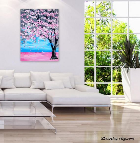 art sale pink cherry blossom painting  large painting with