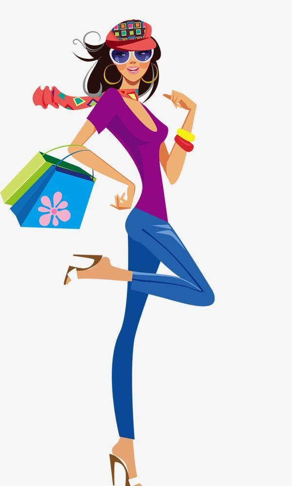 Compras De Belleza Mujer De Compras Logotipo De Ropa Ilustracion De Moda