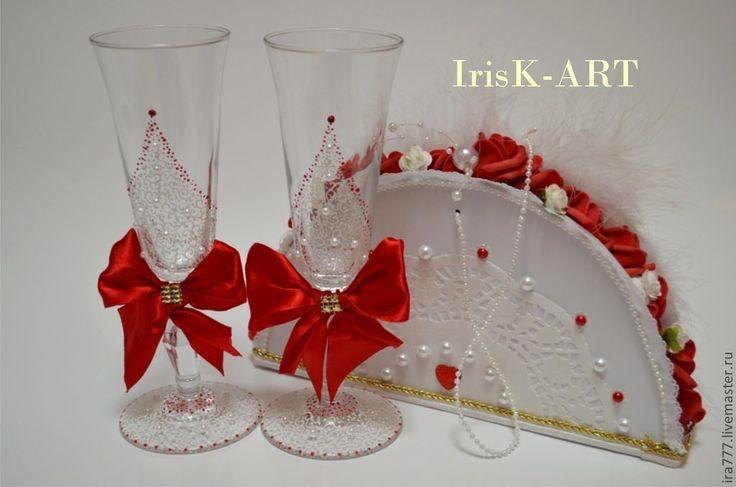 """Купить Свадебные бокалы """" Рассвет"""" - ярко-красный, белый цвет, свадьба, свадебные аксессуары"""