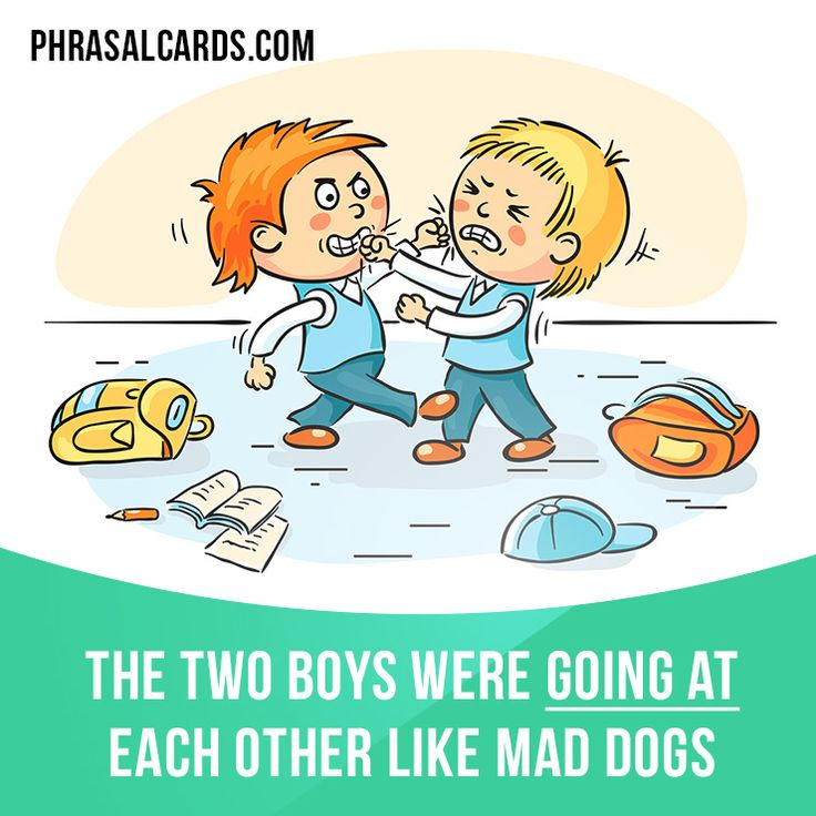 """""""Go at"""" means """"to attack someone"""". Example: The two boys were going at each other like mad dogs."""