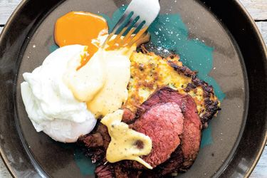 Potato and Kumara latkes with corned beef, poached egg and mustard hollandaise