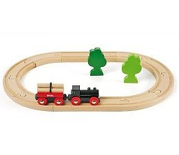 Start je treinreis door de BRIO spoorwegen wereld met deze kleine houten trein. Vandaag rijden we door het bos! Daar is genoeg te beleven: laad boomstammen op de wagon en laad ze weer af, of gewoon lekker tussen de bomen door rijden.   De set levert groot plezier voor alle kleine machinisten in spé.  Omvang: 40 x 25,5 cm  Set is combineerbaar met alle BRIO treinen en de BRIO houten spoorwegen.   http://www.brio-trein.nl/brio-treinen-startset-bos-trein.html