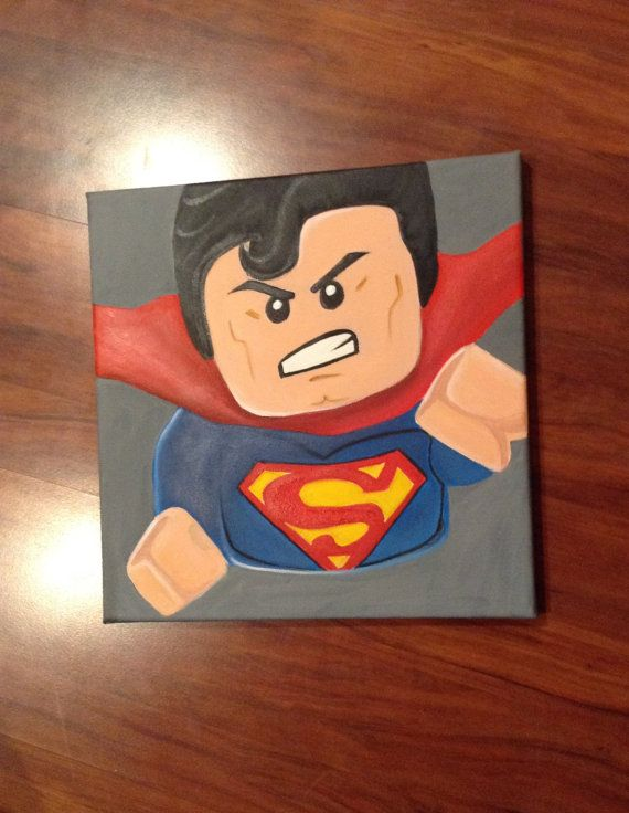 Lego superman canvas artwork etsy art wallart kids by RTMDesigns