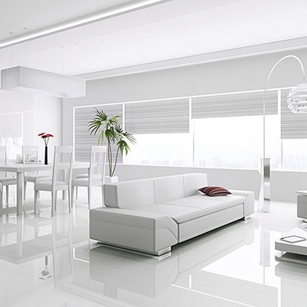 Create The Ultimate Modern Interior With The Outstanding Kronotex Gloss White Laminate Tiles White Laminate Flooring Living Room Tiles White Floors Living Room