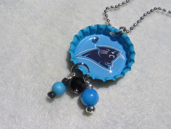 NFL Carolina Panthers  Football Bottlecap by SportsJewelryStudio.  NFL PLAYOFFS!  $10.00.  etsy.com/shop/sportsjewelrystudio