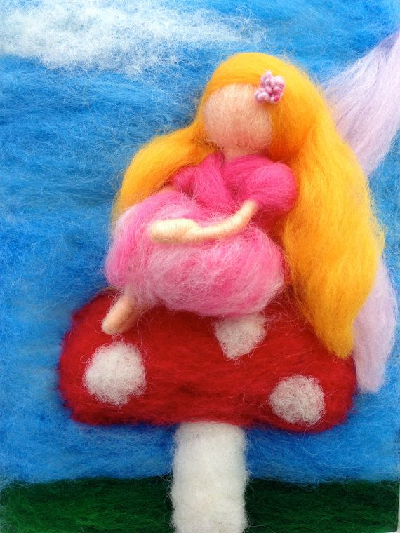 Fairy Daydreaming on a Toadstool Needle Felted Artwork by WoolyRooDolls, $75.00