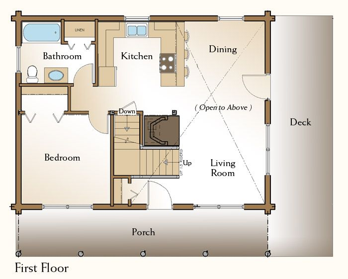 Rockville log home floor plan first floor cabin retreat for Amish floor plans