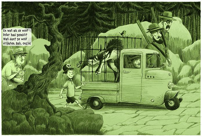 Picture from my 14 pages story Peter and the wolf which is published in Belgian magazine Brabant Strip Magazine.