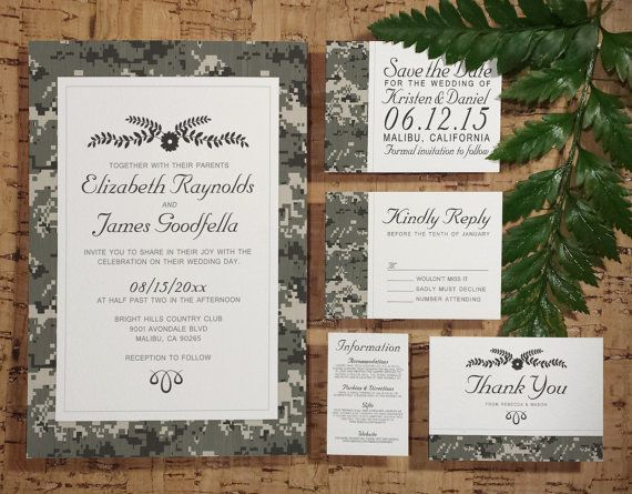 Army Wedding Invitation Set/Suite by InvitationSnob on Etsy