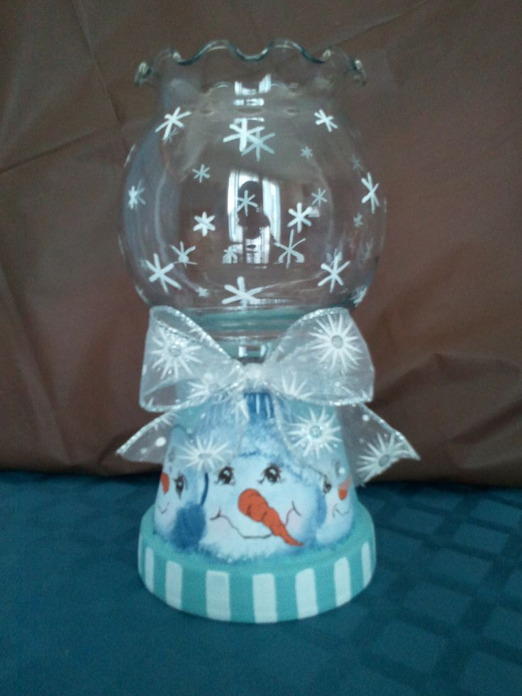 Large snowman themed candle holder on sale in my craft for Candle craft ideas