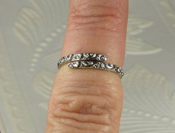Handmade Sterling Silver Long Hearts Finger Wrap Bypass Ring