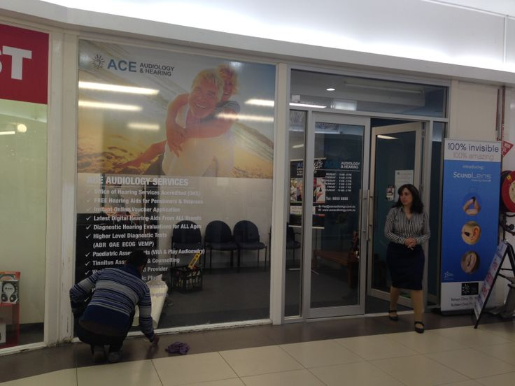 One way vision and vinyl sticker graphics applied to large external window for ACE Audiology. Signage printed and installed by Sign A Rama Box Hill.