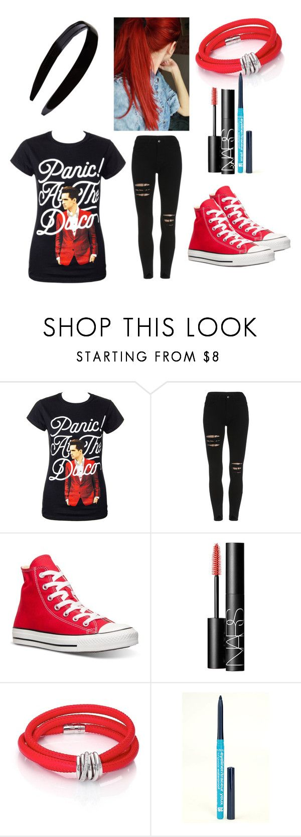 """""""Panic!At The Disco Outfit"""" by peter-pan-in-wonderland ❤ liked on Polyvore featuring Converse, NARS Cosmetics, de Grisogono, 2B Cosmetics and France Luxe"""