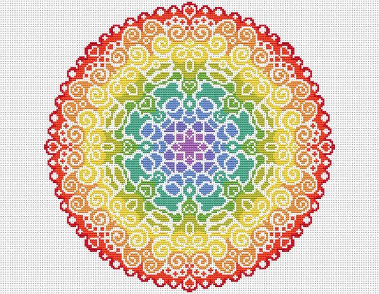 KIT Mandala Cross Stitch Kit Modern by theworldinstitches on Etsy