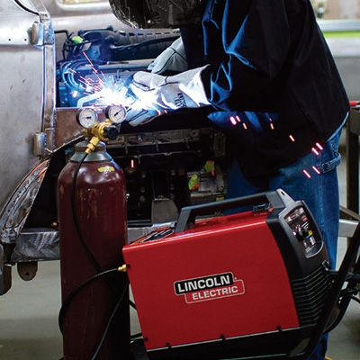 The Lincoln Electric Easy MIG 180 Flux-Core/MIG Welder is an ideal choice for farm, light fabrication, auto or home projects.