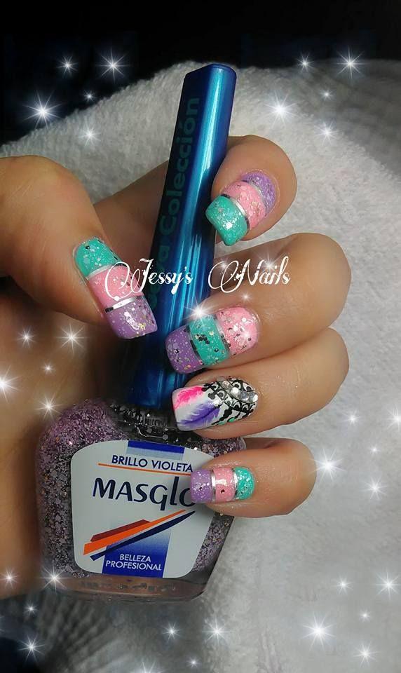 dream catcher nails #nail #nails #nailart #atrapasueños #plumas #decoracionuñasatrapasueños #jessynails