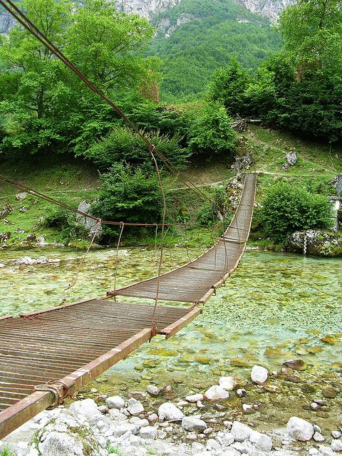 Footbridge across the Valbona, North Albania by David, via Flickr