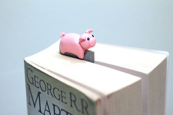 Pig bookmark cute piglet pink polymer clay animal by NellinShoppi, €20.00