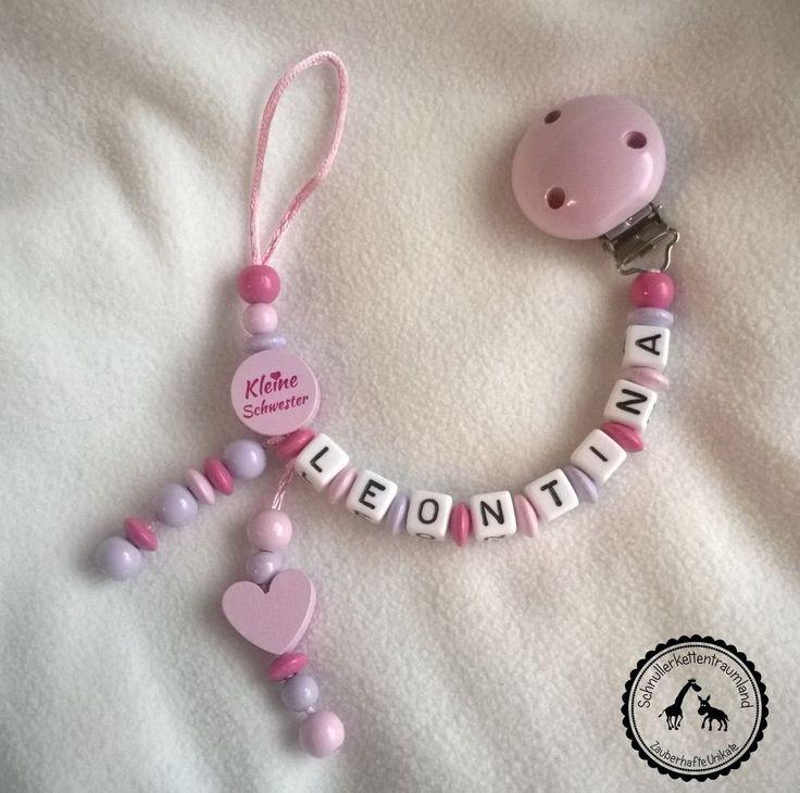 ♥ Schnullerkette mit Namen ★ Kleine Schwester/Herz in rosa/himbeer/flieder ♥ NEU