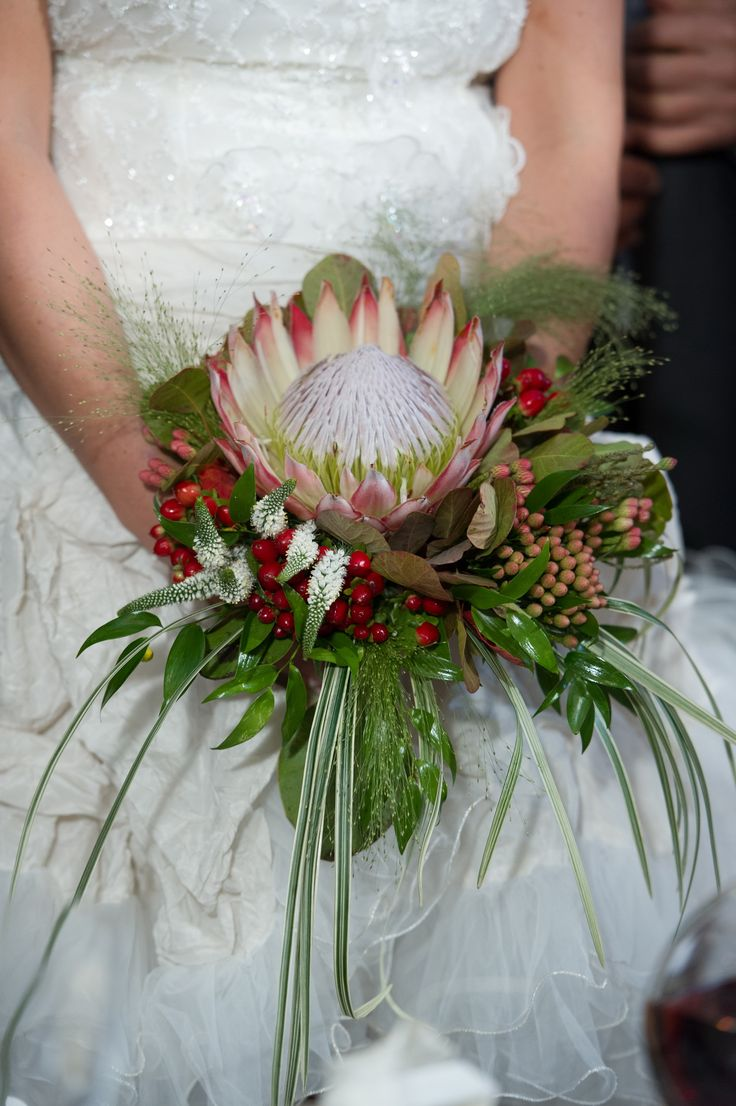 Bride bouquet tropical with proteia flower
