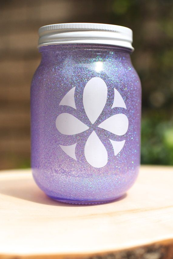 Sofia the First Mason Jar for birthday party! Maybe for the centerpieces with flowers.