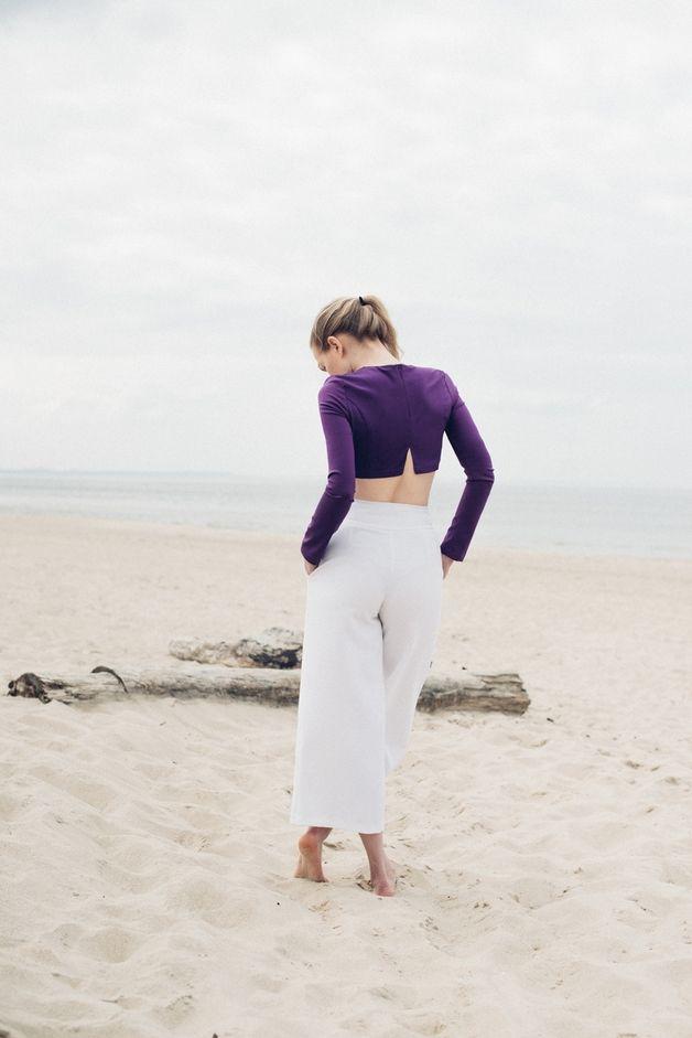 Spodnie asymetryczne H036. Ecru. - Fanfaronada - Sukienki mini