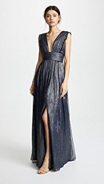 New Monique Lhuillier Bridesmaids Metallic Ruffle Gown with V Neckline online. Find great deals on Cinq a Sept Clothing from top store. Sku blez35685apsa67288