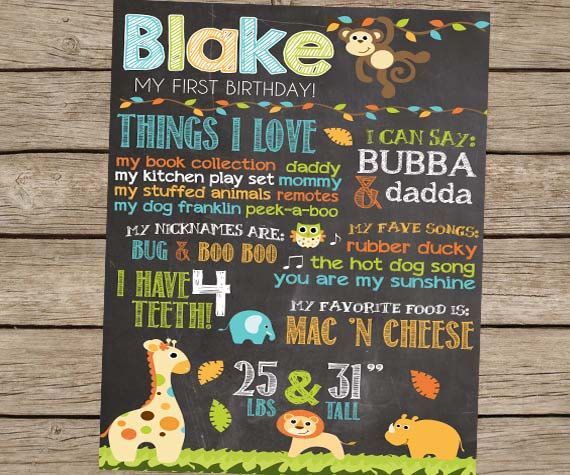 First Birthday Chalkboard Safari Zoo Animal by PlayOnWordsArt, $22.00