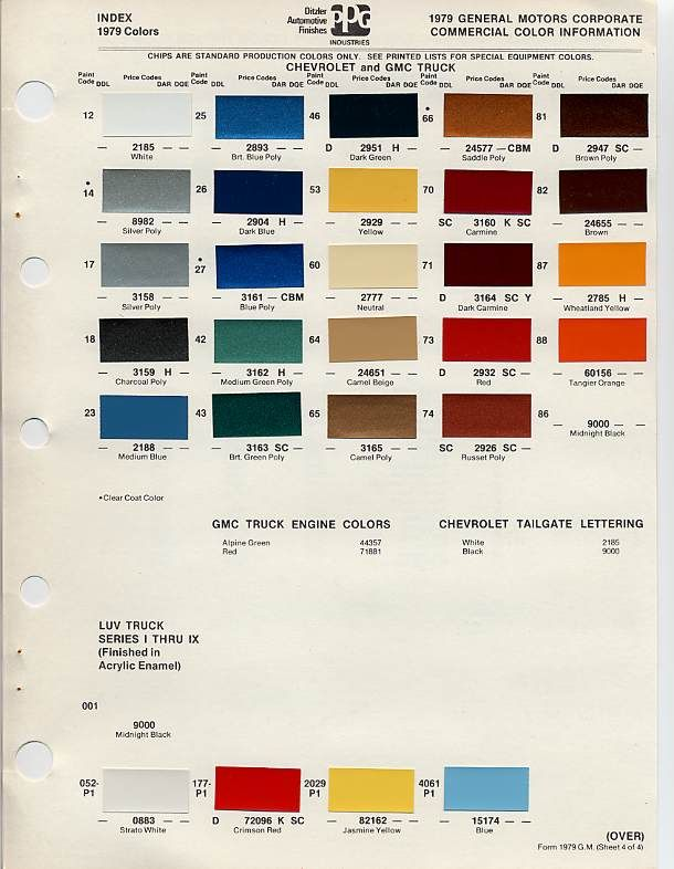 gm auto color chips color chip selection auto paint GM Factory Paint Color Chart GM Paint Codes by Model