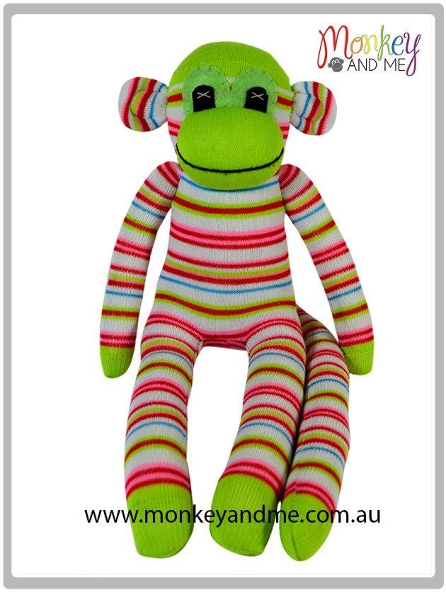Apple the Sock Monkey Adopt over at monkeyandme.com.au #sockmonkeys #gifts #toys #monkey