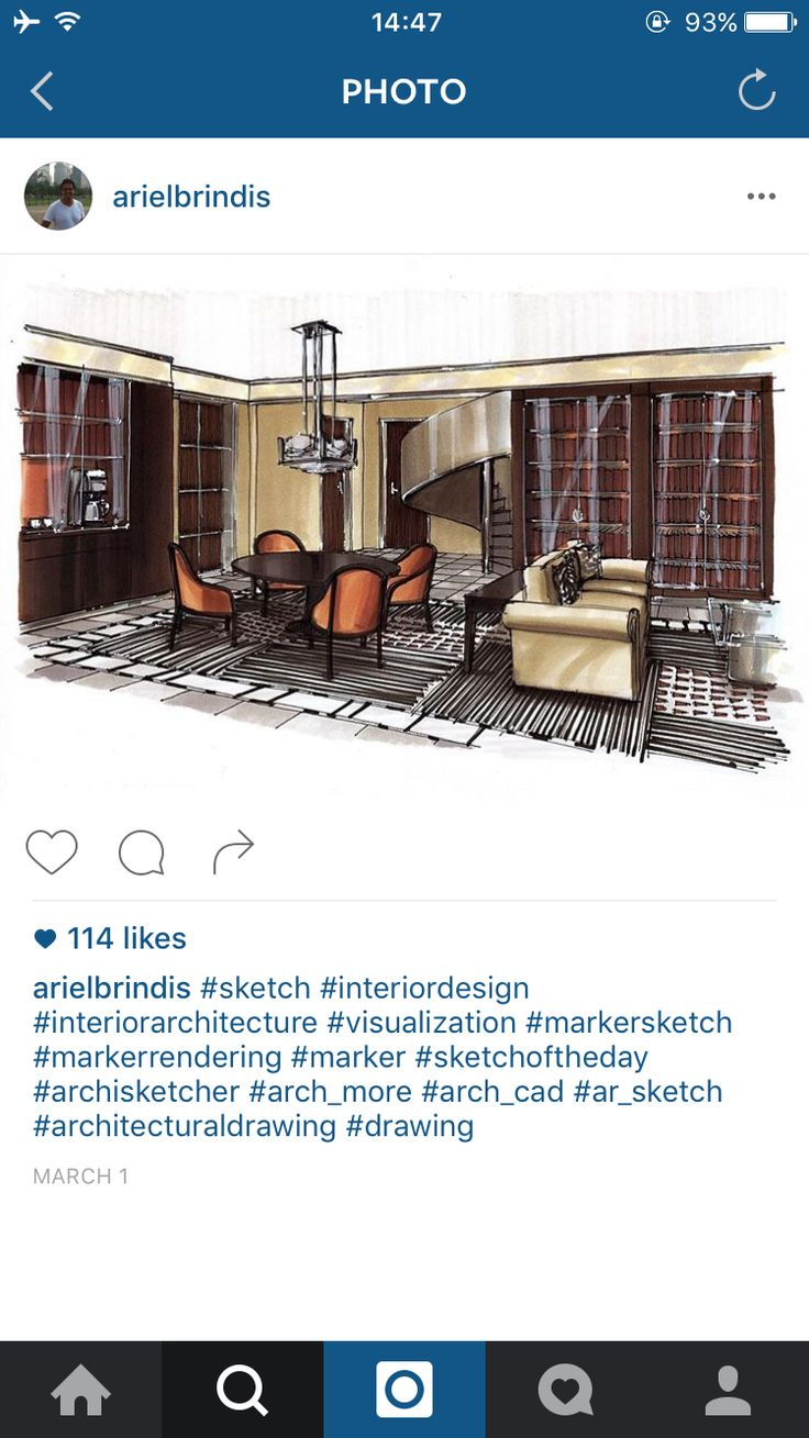 Living room interior design sketch marker rendering