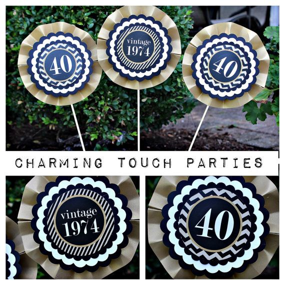Set of 3 modern and masculine gold black by CharmingTouchParties, $18.00