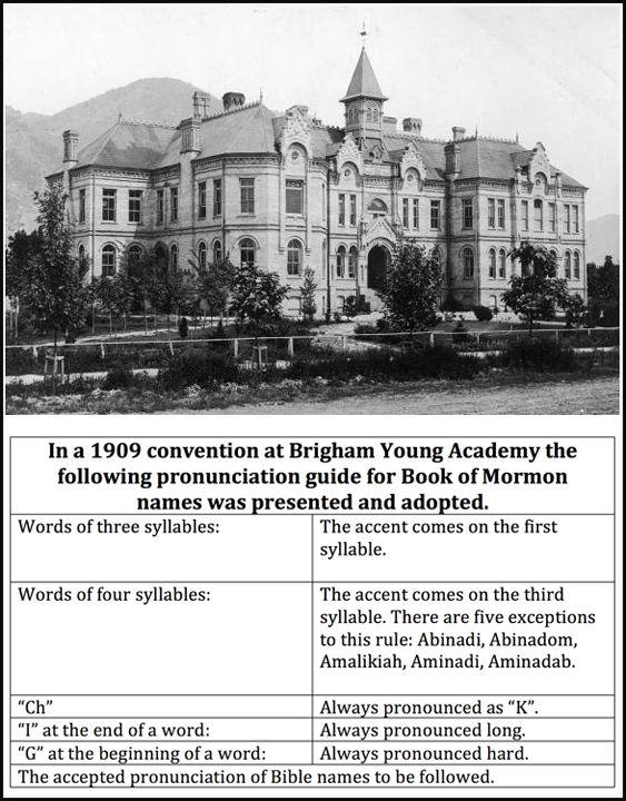 Joseph Knew -- 1909  Book of Mormon Pronunciation Guide.