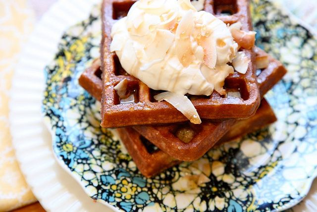 Gluten-Free Toasted Coconut Waffles with maple whipped cream # ...