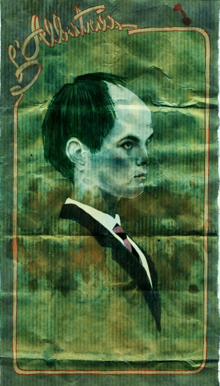 a portrait inspired by Charles Baudelaire and the tradition of poetes maudits. Green hair, inflated head, and paper stains that inhabit the skin like some kind of disease, are used to reflect an artist suffering, within his environment, mental and social.