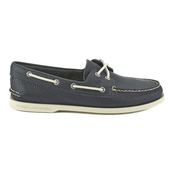Sperry Men's A/O 2-Eye Leather Boat Shoes - Navy ($105) ❤ liked on Polyvore featuring men's fashion, men's shoes, men's loafers, navy, mens sperry topsiders, mens moccasins, mens lace up shoes, mens deck shoes and mens leather boat shoes