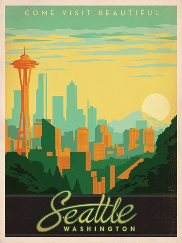IDEA #1: Seattle skyline fiber art {example of skyline illustration - Seattle vintage travel poster}  I like the font on this...