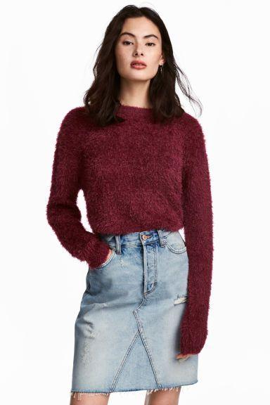Puszysty sweter - Burgundowy - ONA | H&M PL 1