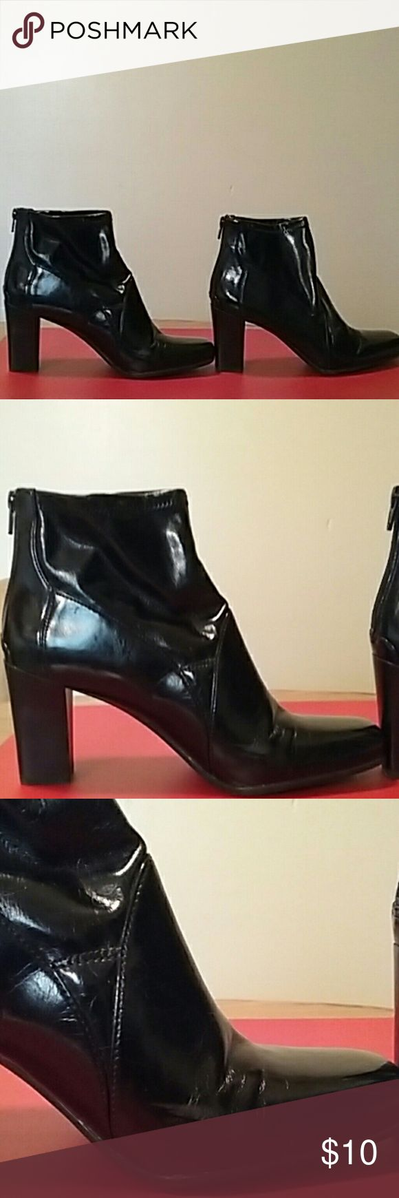 Super Cute Ankle Boots Super Cute Ankle Boots. Zipper in the Back  ...Sleek Smooth Man Made Material. ...Size 9 ....Heel 3 Inches... 2 Slight Scuff Marks as shown in Picture 3 Franco Sarto Shoes Ankle Boots & Booties
