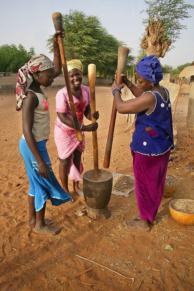 Femmes pilonnant le grain, Delta de Sine Saloum, Nord de la Gambie / Sud du Sénégal