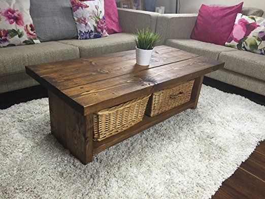 Solid Rustic Handmade Pine coffee table (MK4B), finished in a Chunky Country Oak (120 x 60 x 40 High, Dark Oak): Amazon.co.uk: Kitchen & Home