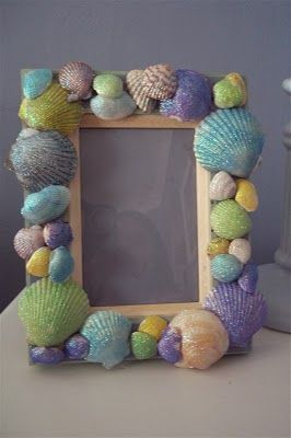 Shell Frame - glittered & painted shells -fun for Ella and friends to make and take?