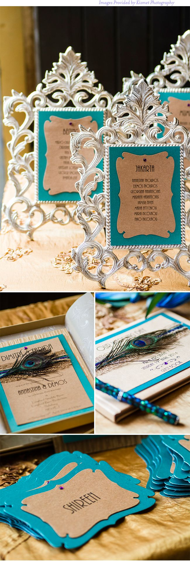 Teal and Gold with Peacock Feather Detailing | Fusion Wedding Details Using Eastern Influences and Antique Wood | Kismet Photography